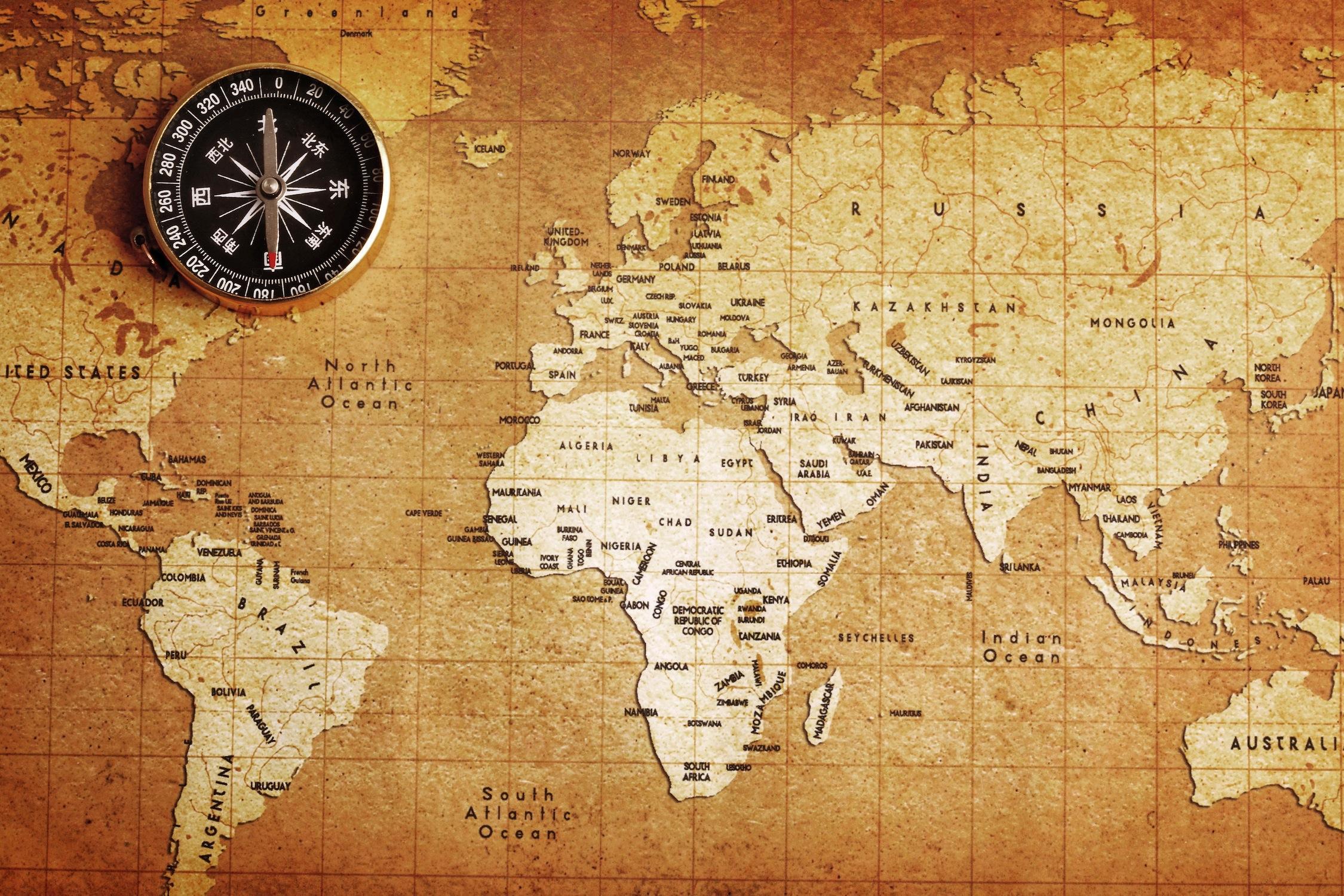 vintage harita duvar kagidi