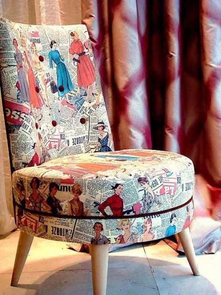baski desenli dekoratif koltuk
