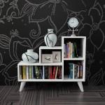 dekoratif beyaz kucuk kitaplik