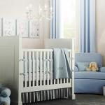 mavi beyaz erkek bebek odasi