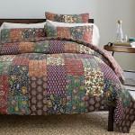 patchwork keten yatak ortusu