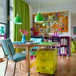 renkli calisma odasi dekorasyonu