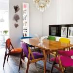 Renkli mutfak yemek masaları