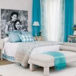 turkuaz beyaz yatak odasi