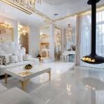 beyaz modern salon dekorasyonu