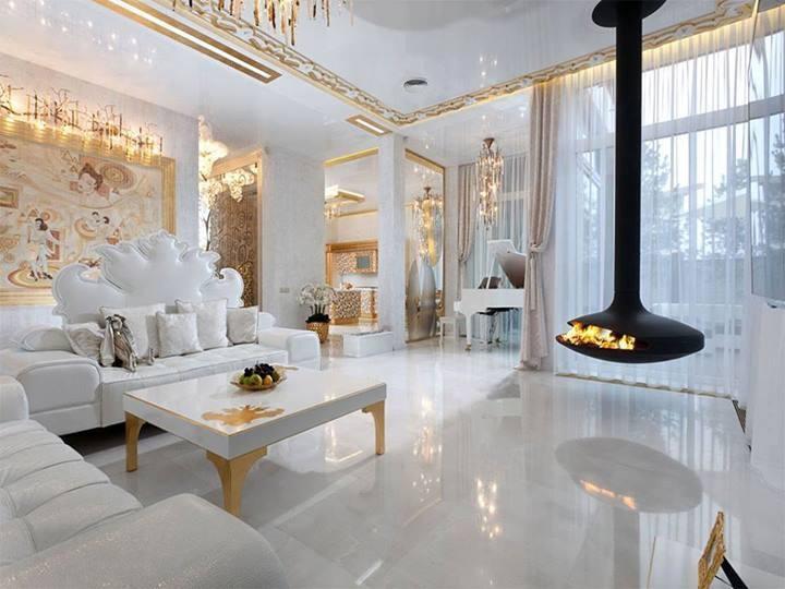 Beyaz Modern Salon Dekorasyonu Dekorstyle