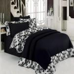 cotton box siyah desenli yatak ortusu