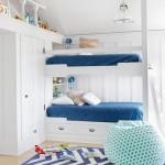 mavi beyaz ranzali cocuk odasi dekorasyonu
