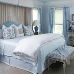 Mavi Beyaz Vintage Yatak Odası Dekorasyonu