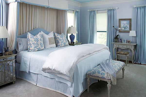 Mavi beyaz vintage yatak odas dekorasyonu dekorstyle for Chambre a coucher zebrano