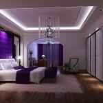 mor dekorasyonlu yatak odasi