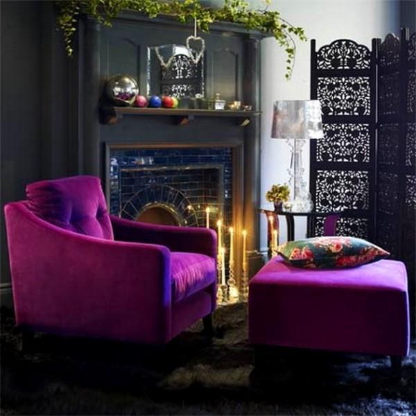 mor renkli ev dekorasyon modelleri