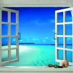 pencereden deniz manzarali tablo