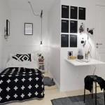 siyah beyaz genc erkek odasi dekorasyonu