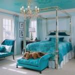 turkuaz rengi yaz yatak odasi