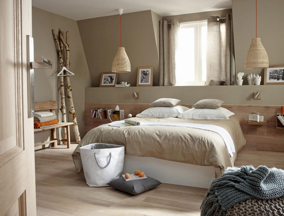 Chambre rose et taupe
