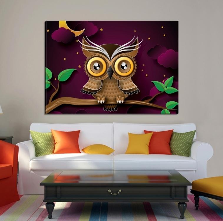 dekoratif baykus tablo