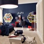 mavi genc erkek odasi dekorasyonu