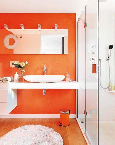 Turuncu banyo dekorasyonu örnekleri