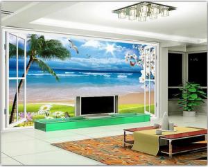 3D Duvar Kağıdı Kaplama Sahil Palmiye Manzarası