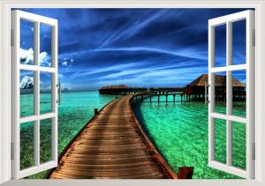 3D Duvar Kağıdı Modelleri Sahil Kenarı Manzarası