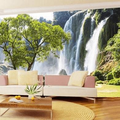 3D Duvar Kağıdı Kaplama Şelale Ağaç Manzarası
