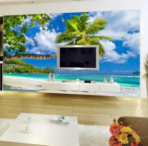 3D Duvar Kağıdı Kaplama Palmiye Ağacı Manzarası