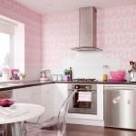 Mutfak da Duvar Kağıdı Modelleri Pembe Renk