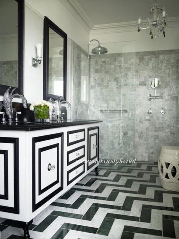 Siyah beyaz banyo dekorasyon fikirleri 2016v