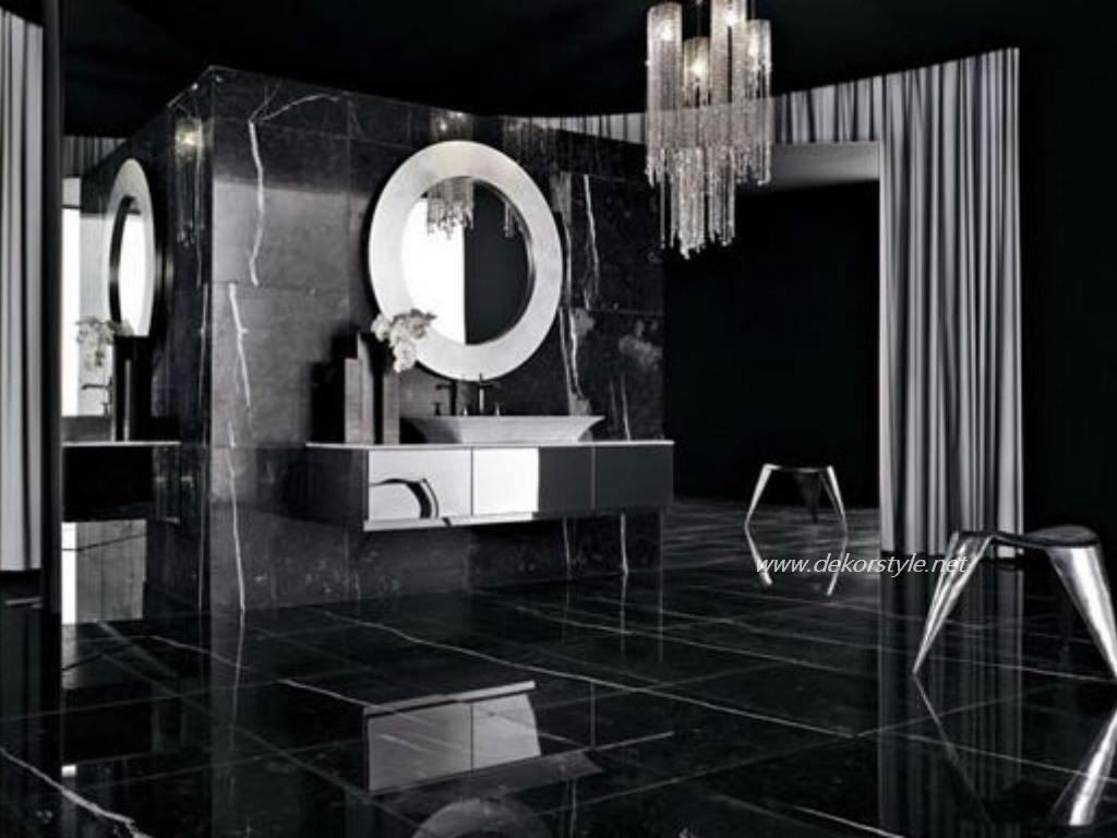 Siyah beyaz banyo dekorasyon fikirleri 2016