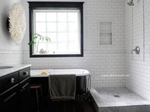 Siyah beyaz banyo fayans döşeme modelleri 2016