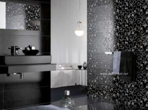 Siyah beyaz fayanslı banyo 2016