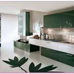 Yeşil Desenli Mutfak Dolapları