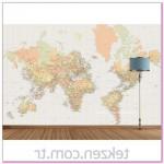 Dekoratif Tekzen Duvar kağıdı Dünya haritası