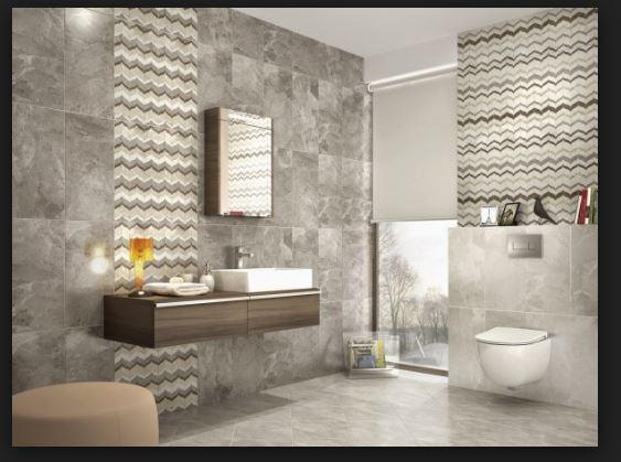 Harika Desenli Gri Mat Fayans Banyo Dekor Modelleri