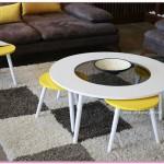 Yeni Moda Sarı Zigonlu Orta Sehpa Modelleri