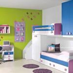 Yeşil Mavi Duvarlı Genç Odası