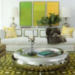 Yeşil Renk Aksesuarlardan Oluşan Oturma Odası