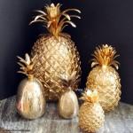 Şirin Mutfak Süsleri Altın Kaplama Ananas