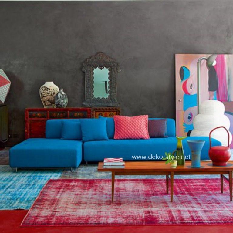 Farklı Tarz Turkuaz Rengi Salon Tasarımı