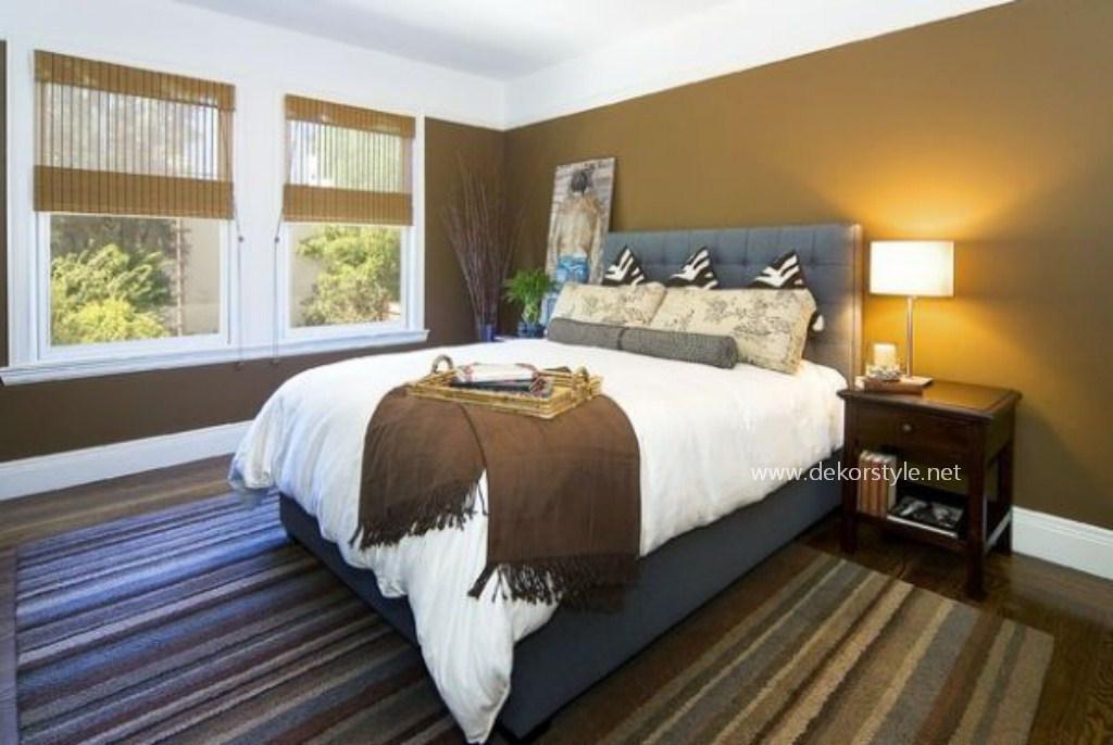 Parlak Modern Yatak Odası Başlığı Gri Sorguçlu ve Zebra Yastik