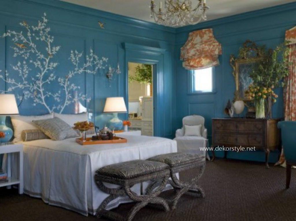 Retro Turkuaz Rengi Yatak Odası