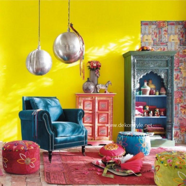 Retro Turkuaz Renkli Oturma Odası Tasarımı