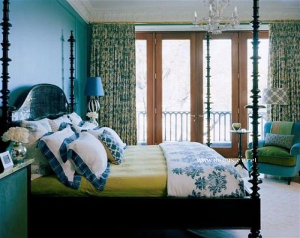Turkuaz Renkli Yatak Odası