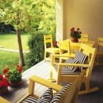 Sarı sandalye çiçek veranda fikri decode bahçe teras