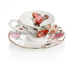 Bernardo Rose Garden Altılı Kahve Fincanı ve Taba
