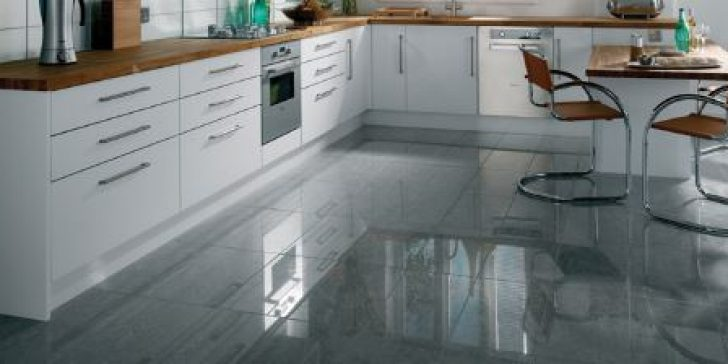 Gloss kitchen floor tiles