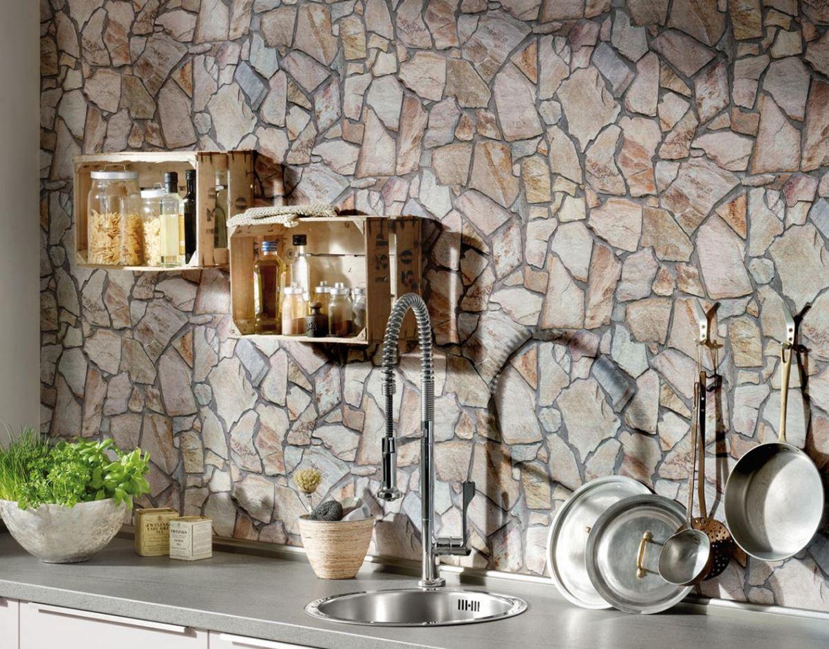 Mutfaklara Özel Duvar Kağıdı Dekorasyonu Doğal Taş