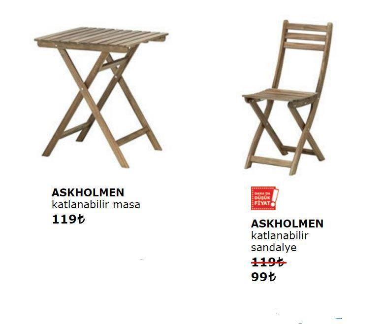 İkea Askholmen Katlanabilir Masa ve Sandalyesi