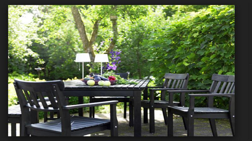 ikea tahta bahçe mobilyaları